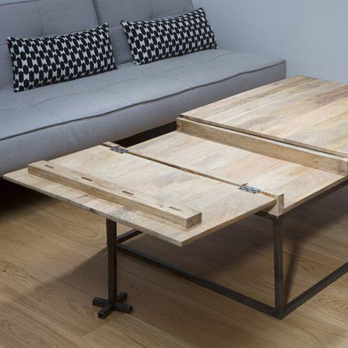Table basse bois avec rallonge