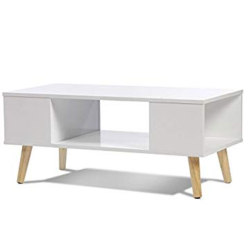 Table basse scandinave blanche rectangulaire