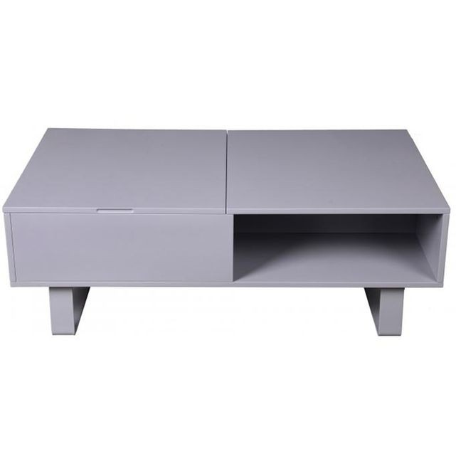 Table basse grise avec plateau relevable
