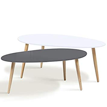 Table basse gigogne blanche et grise
