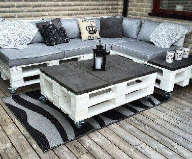 Table basse palette carreaux