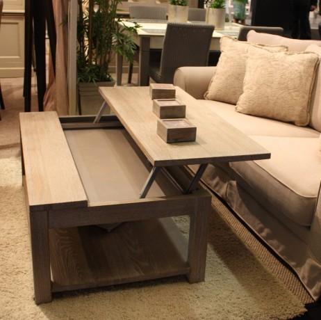 Table basse plateau relevable bois
