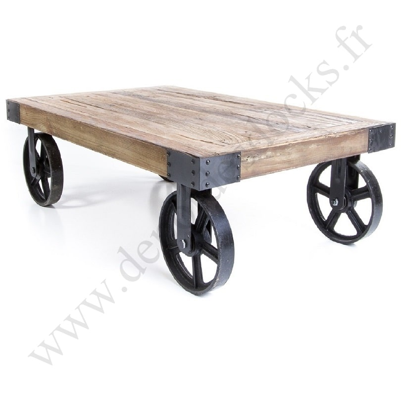 Table basse bois metal roues