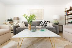 Table basse salon marbre
