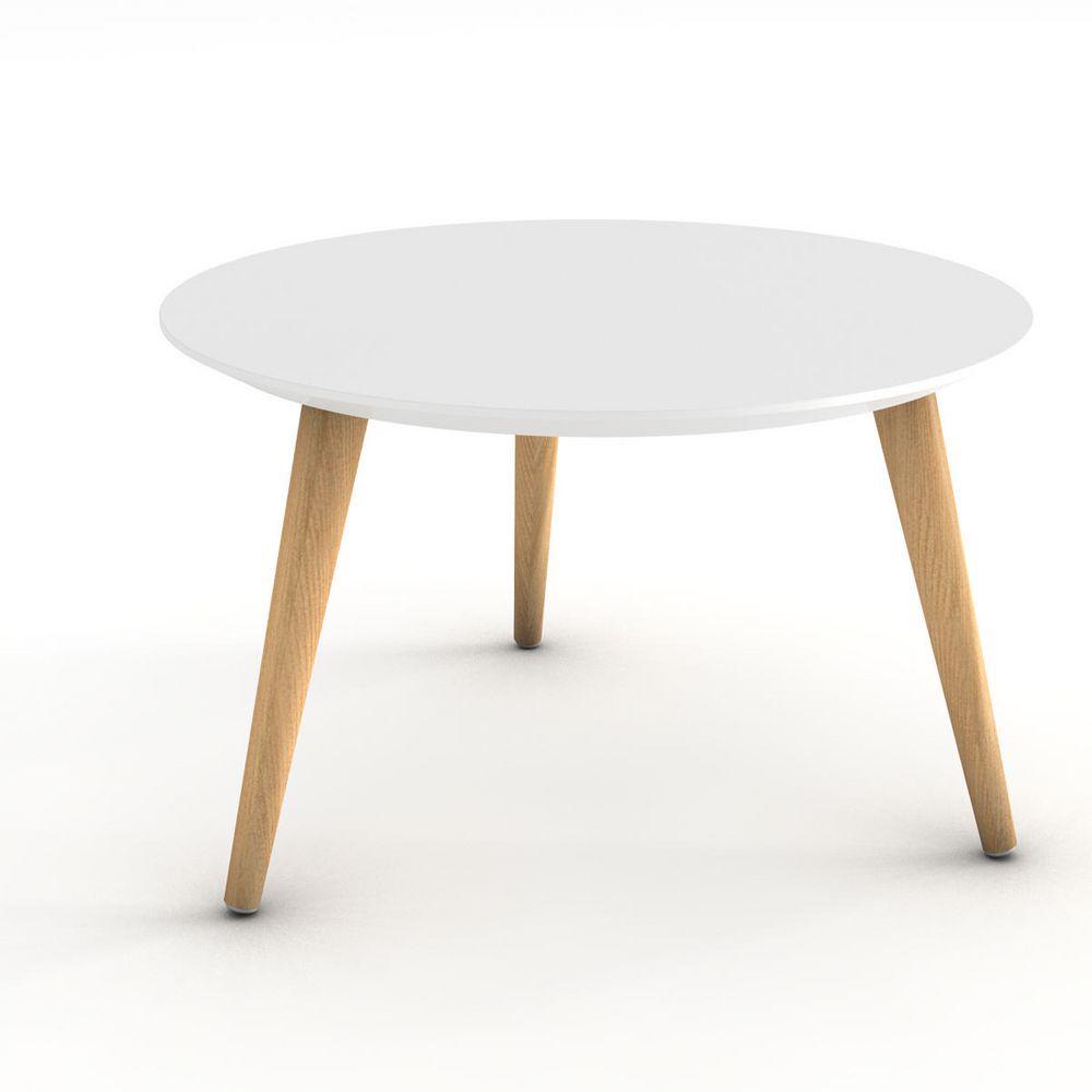 Table basse plateau blanc pieds bois