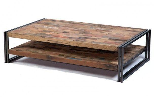 Table basse fer et bois prix