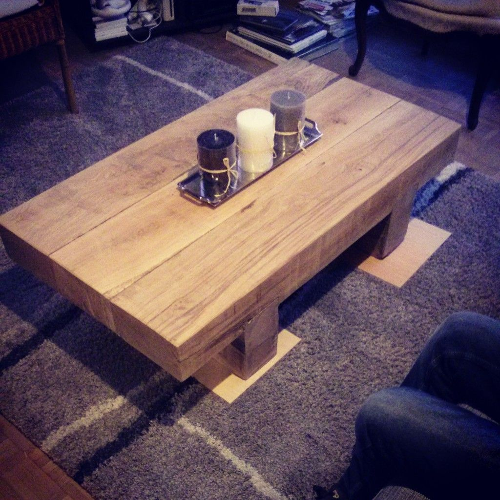 Table basse bois ferraille