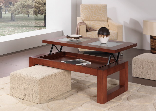 Table basse relevable extensible noyer