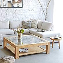 Table basse carree bois et verre
