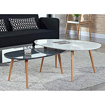 Table basse ovale scandinave blanche