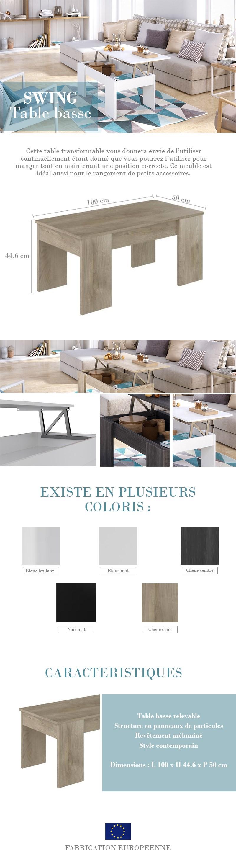 Swing table basse relevable style contemporain blanc brillant