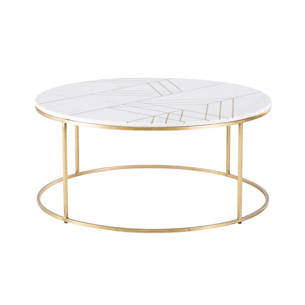Table basse marbre pied laiton