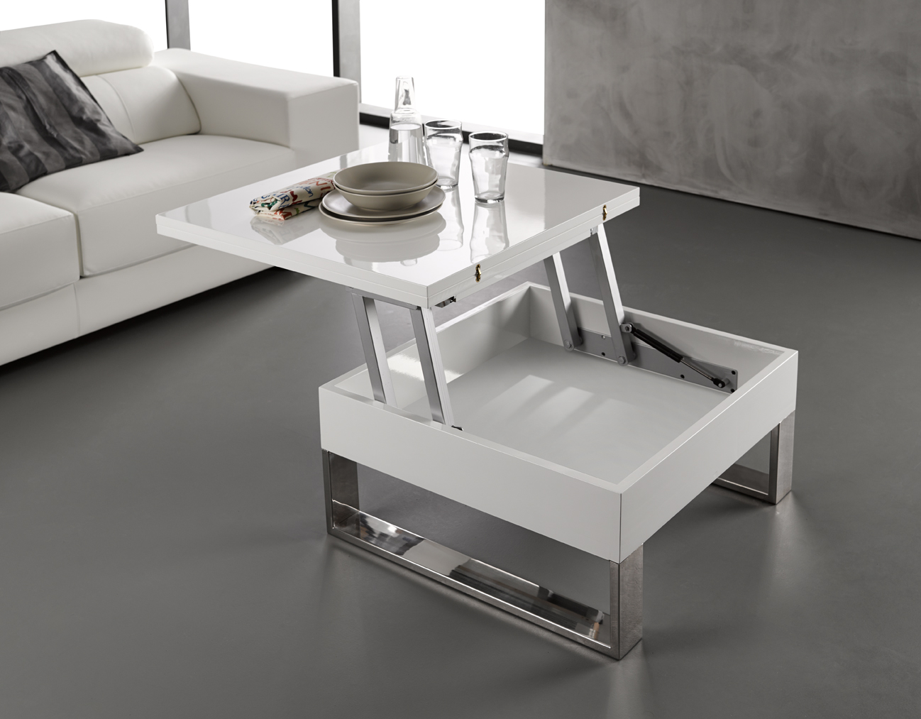 Table basse relevable carre