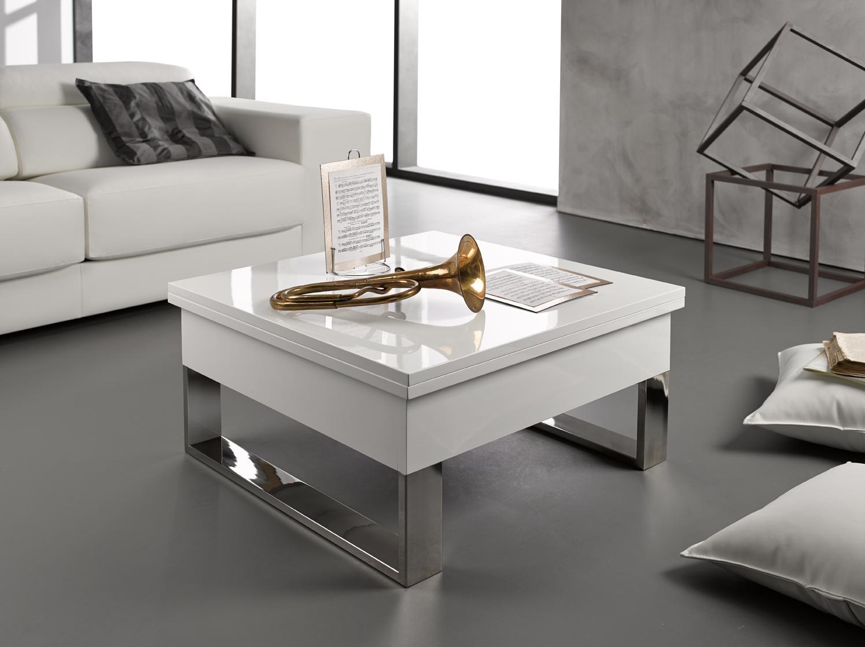 Table basse relevable et extensible blanc laqué