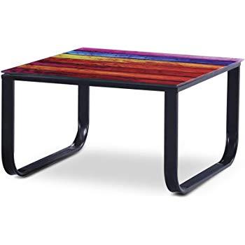 Table basse design noire avec plateau en verre imprimé palette multicouleur