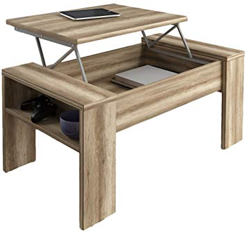 Table basse relevable en teck