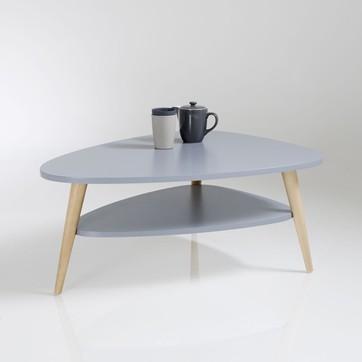 Table basse double plateau bois foncé