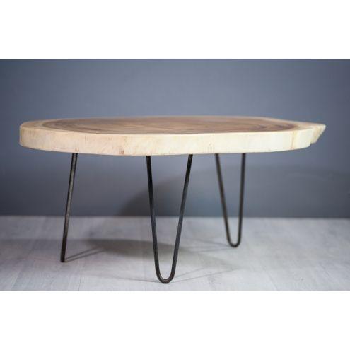 Table basse bois et fer 2 plateaux