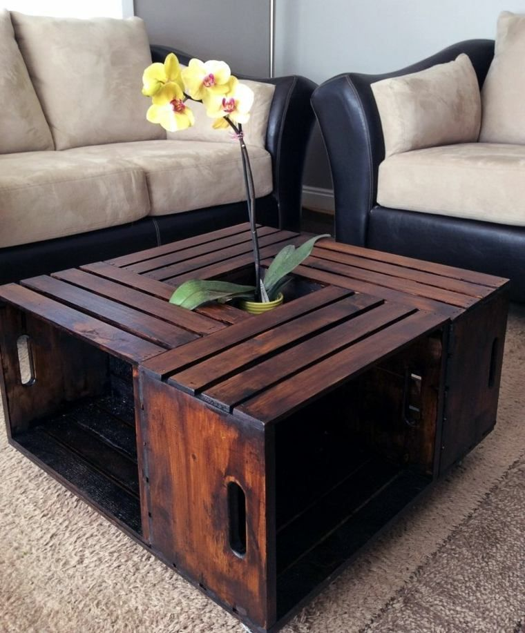 Table basse caisse de bois