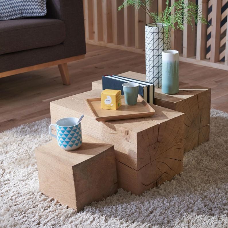 Table basse tronçon bois
