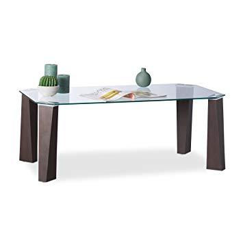 Table basse transparente pied bois