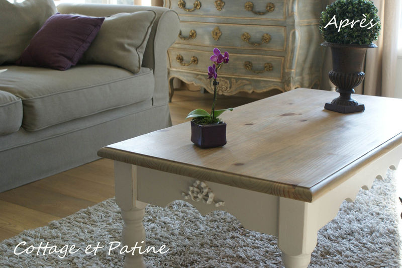 Relooking table basse bois
