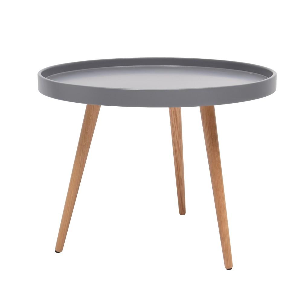 Table basse scandinave avec pouf