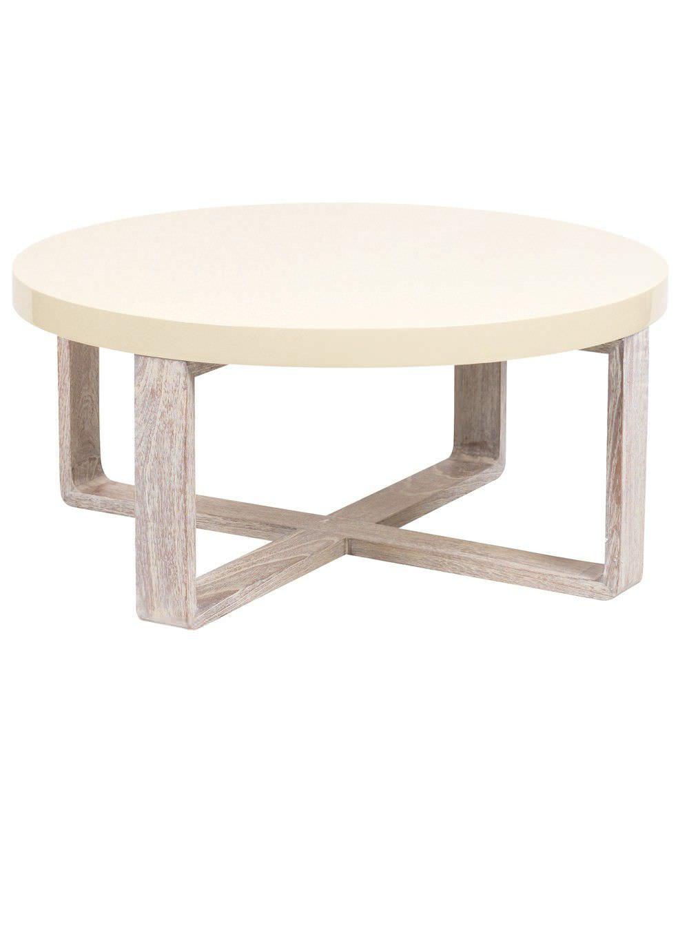 Table basse bois et blanc ronde