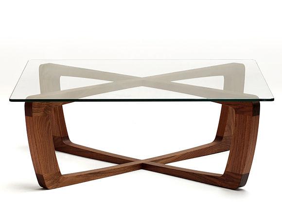 Table basse bois et verre carrée