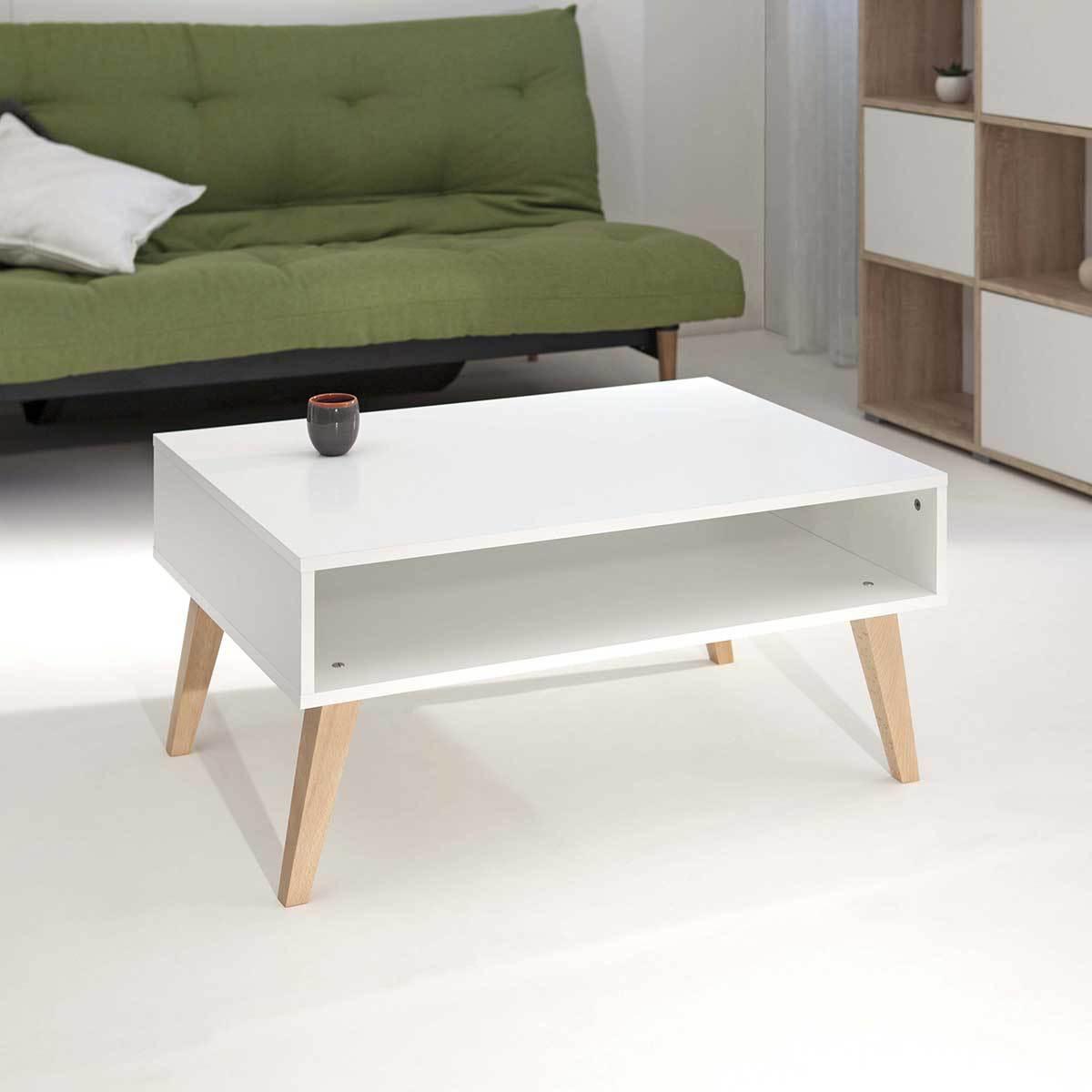 Table basse blanche pied en bois