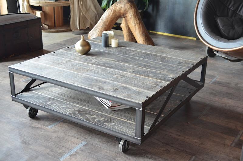 Table basse bois gris