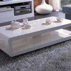 Table basse rectangle blanc et bois