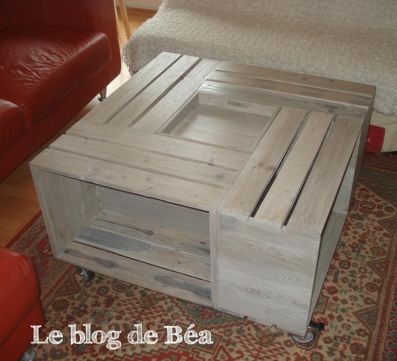 Table basse caisse de vin en bois