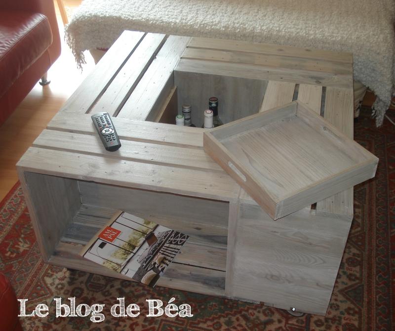 Table basse bois customisée