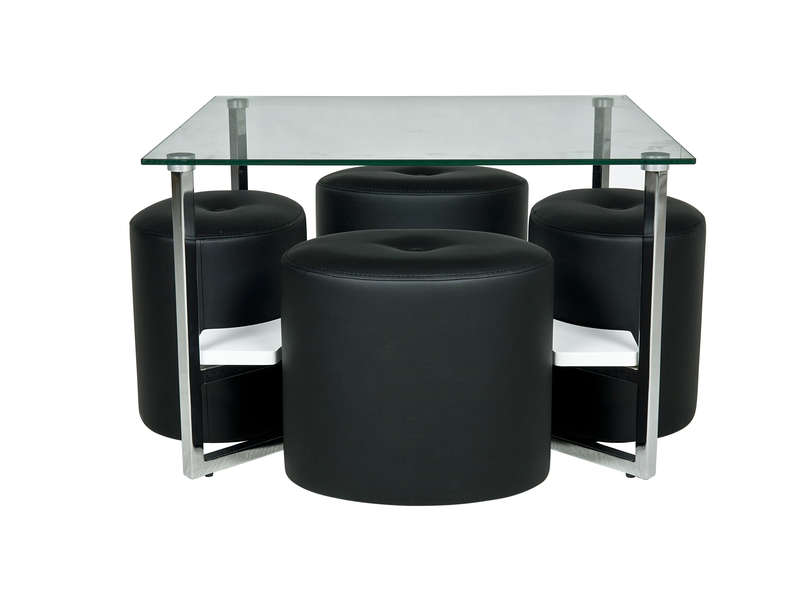 Table basse en verre pouf