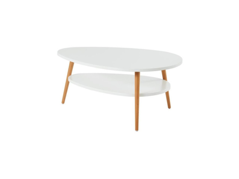 Table basse blanc laqué scandinave