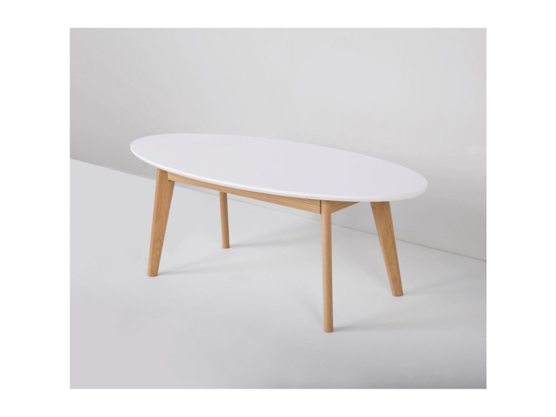 Table basse blanche scandinave ovale