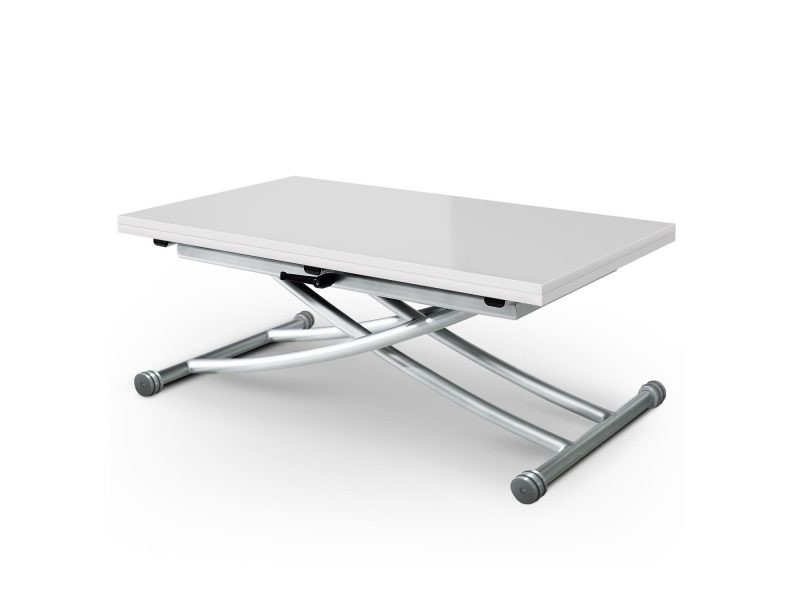 Table basse relevable blanc laqué conforama