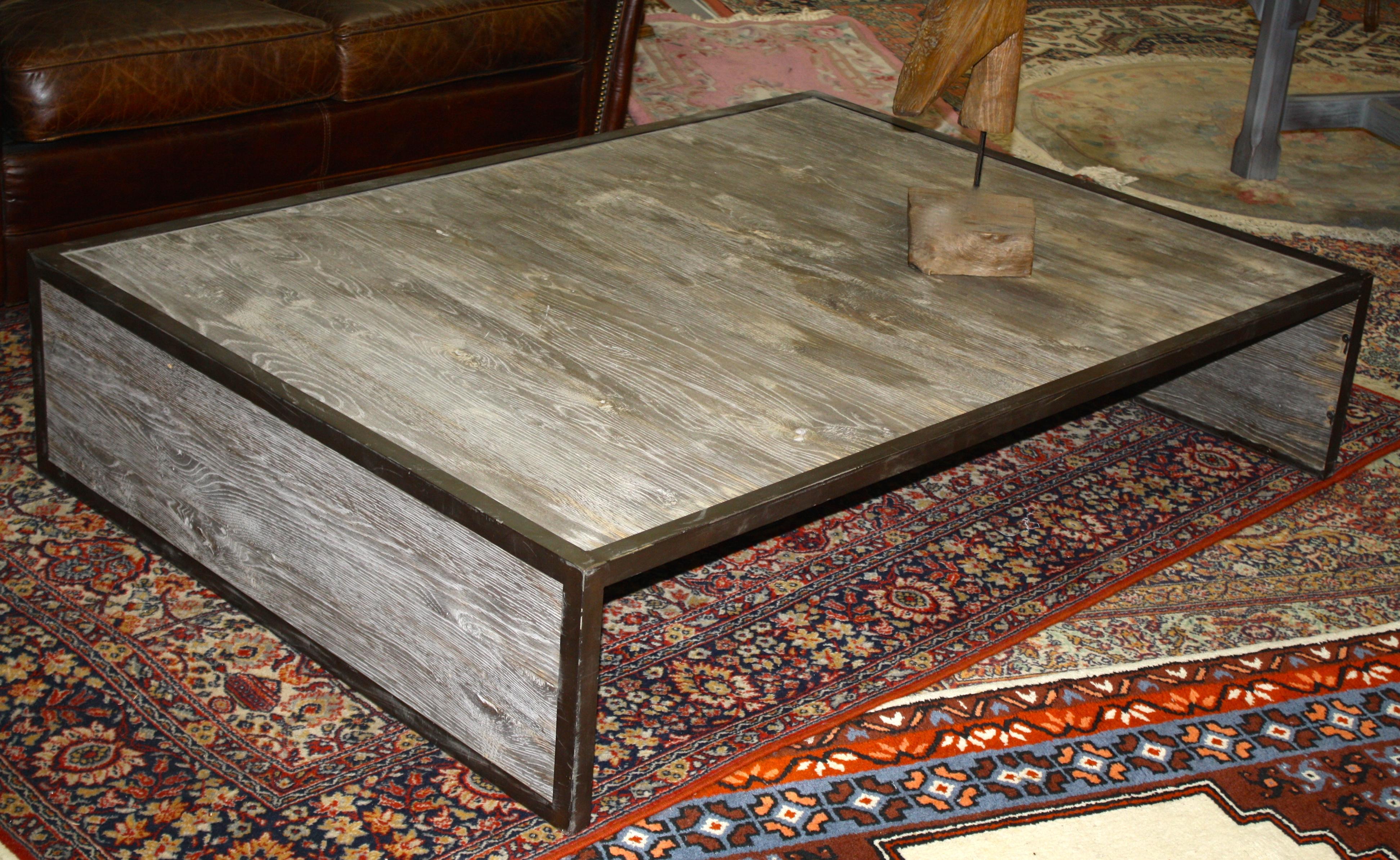 Table basse verre bois rectangulaire