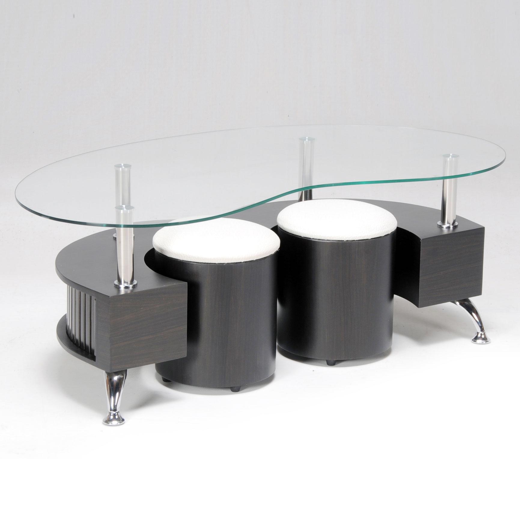 Table basse en verre avec pouf but