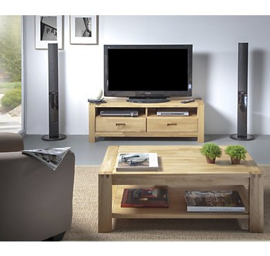 Ensemble meuble tv table basse bois