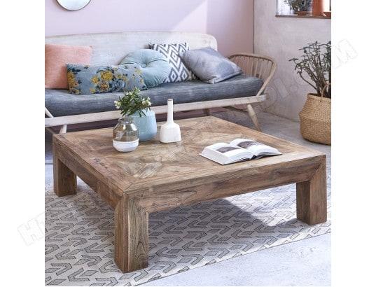 Table basse teck bois dessus bois dessous