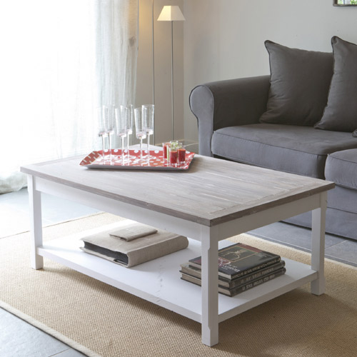 Table basse bois massif blanche
