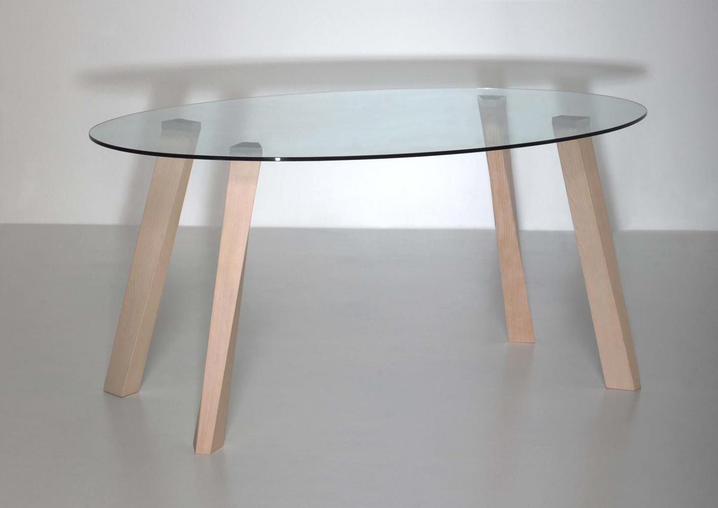Table basse pied bois plateau verre