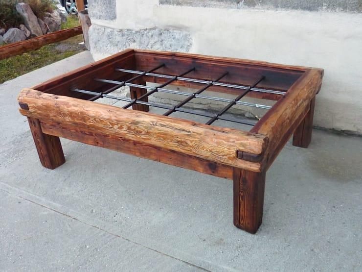Table basse bois verre fer