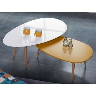 Stone table basse scandinave laquée blanc