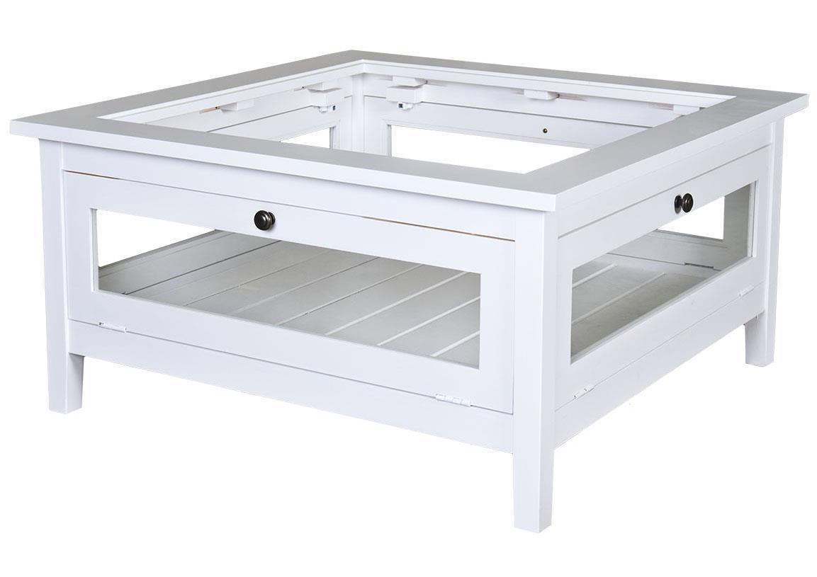 Table basse carré bois blanc