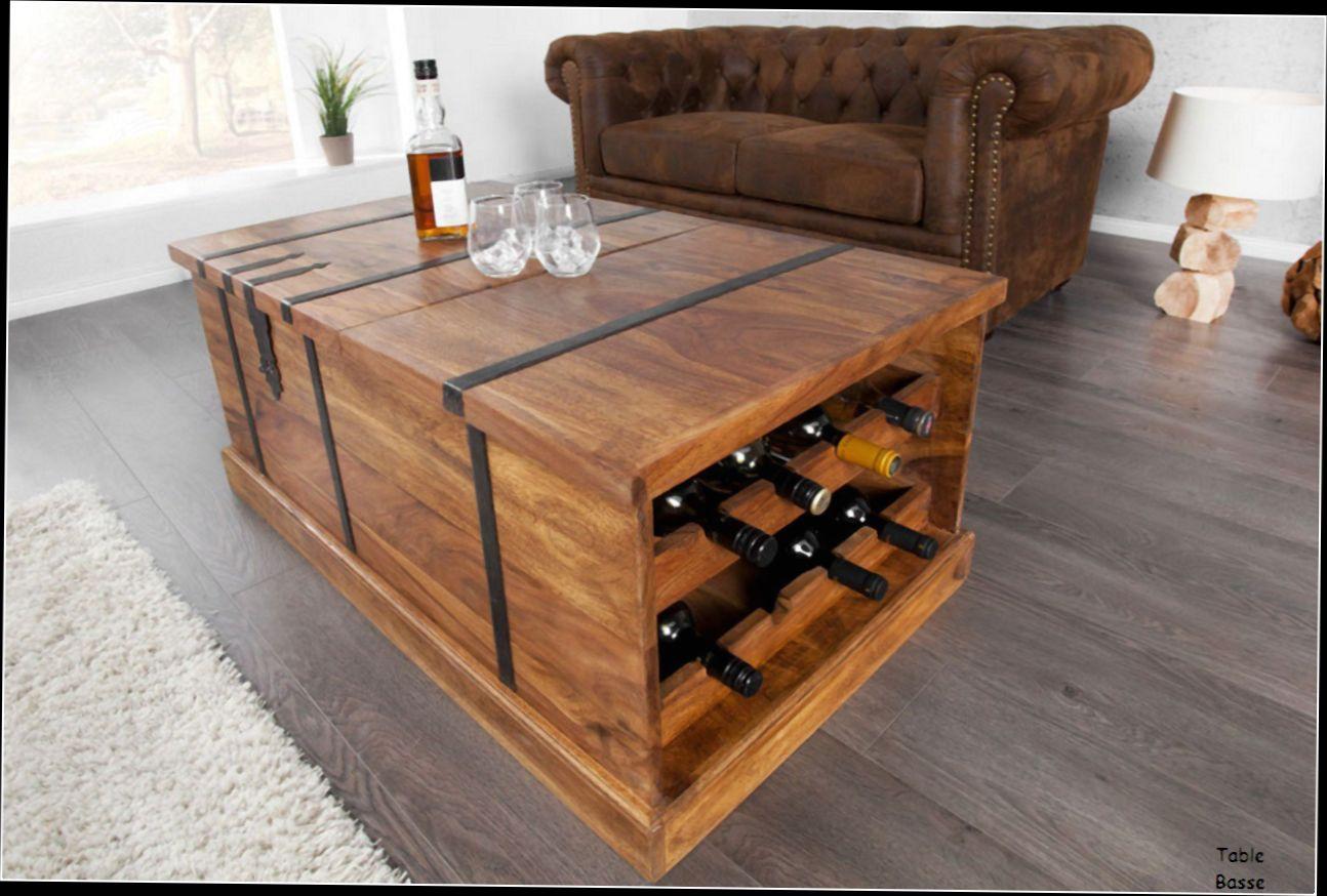 Table basse bois rangement bouteille