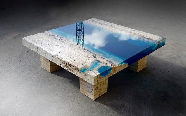 Table basse resine bois