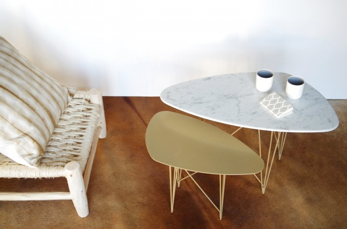 Table basse marbre dore